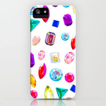 iPhone Samsung Phone case Rhinestone Reverie White