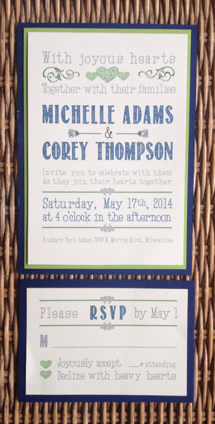 Handmade Wedding Invitation, Blue and Green, Belly Band ...