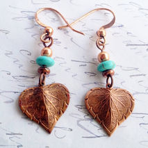 Simple Artisan Copper Nouveau Leaf Earrings