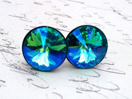 Turquoise Glacier Blue Swarovski Crystal Stud Earrings - Jessica Klaaren  Jewelry - PinkLion b85d84c52d