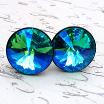 Turquoise Glacier Blue Swarovski Crystal Stud Earrings