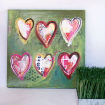 Abstract Heart Original Painting Mixed Media