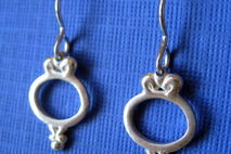 Dangle Earrings Sterling Silver. Ornate Frame