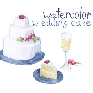 Watercolor Cake Clip Art : Custom Watercolor Wedding Cake Wine Reception Clipart ...