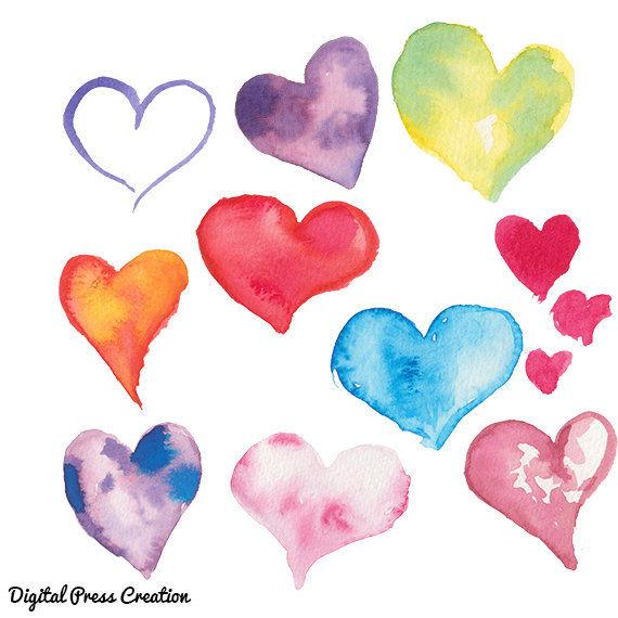 Watercolor heart. Hearts clip art clipart