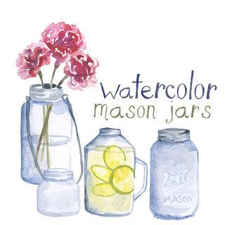 Custom Watercolor Mason Jar Clipart Wedding Invites Glass Cl