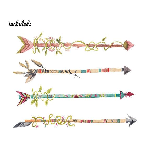 Watercolor Arrows Clip art Clipart clip art feathers clipart Dig ...