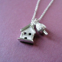 Tiny House and Tree Necklace Sterling Silver