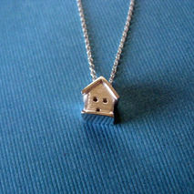 Tiny 3D House Necklace Sterling Silver