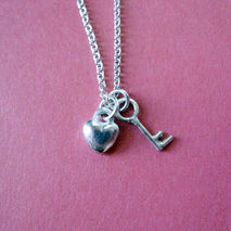 Tiny Heart and Key Charm Necklace Sterling Silver