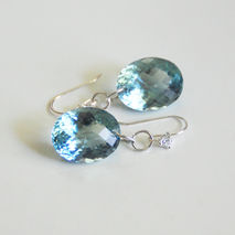 Gorgeous 33.80 ct Sky Blue Topaz Dangle Drop Earrings - Wedding