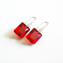 Gorgeous 34.17 ct Emerald Cut Red Topaz  Dangle Drop Earrings -