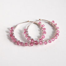 Mystic Pink Quartz Hoop Earrings