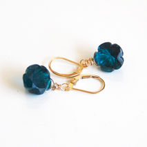 Teal Blue Carved Flower Briolette Dangle Drop Earrings- Wedding