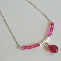 Wedding Jewelry- Bridal Jewelry Hot Pink Quartz Necklace on Ster