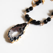 Geode Druzy Slice gold  pendant   and Black Onyx Pendant Necklac