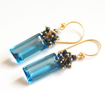 Gorgeous London  Blue Quartz And Black spinel Cluster Dangle Dro