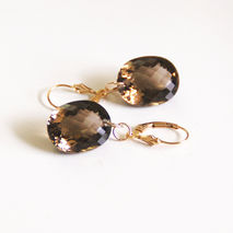 Gorgeous 27.20 ct Smoky Quartz Dangle Drop Earrings - Wedding Je