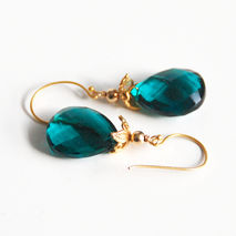 Teal Quartz Dangle Drop Earrings