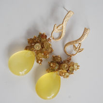 Gemstone Cluster Earrings -Gorgeous Yellow Chalcedony and Rare s