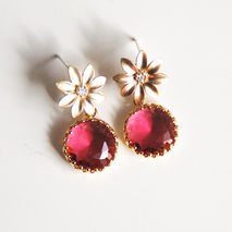 Ruby  color Glass Drop Dangle earrings-Post earrings- Wedding je