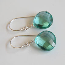 Sage Green Quartz Dangle Drop Earrings- Wedding Jewelry- Bridal
