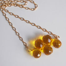 Gemstone Yellow Quartz Necklace- Wedding Jewelry