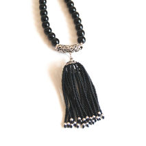 Black Onyx Tassel Necklace - Tassel Necklace - Black Onyx  Neckl