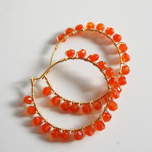 gemstone Hoop  Earrings - Orange Carnelian Gold filled Hoop Earr