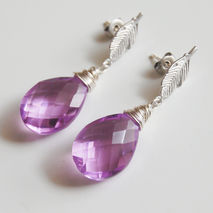 Hot Pink  Quartz Drop Dangle Earrings- Wedding Jewelry - bridal