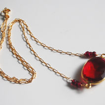 Ruby Red Quartz  Connector Neclace  on gold filled chain. weddin