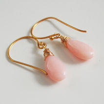 PERUVIAN PINK OPAL Smooth Pear Shape Briolettes Drop Dangle Earr