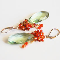 Green Amethyst Quartz And Carnelian Cluster Dangle Drop Earrings