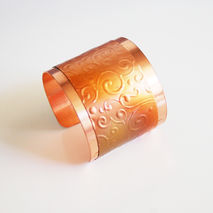 Cuff Bracelet --Solid Copper  Bracelet with Embossed  patina Des