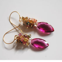 Genmstone Cluster Earrings - Hot pink Rubelite - Multi Tourmalin