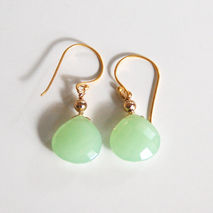 Prehenite Green Chalcedony Dangle Drop Earrings - Wedding jewelr