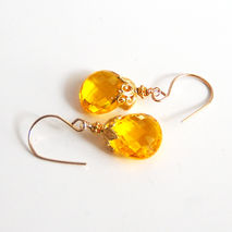 AAA Yellow Quartz Dangle Drop Earrings- Wedding Jewelry- Bridal