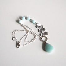 Peruvian Blue Opal- Blue Chalcedony Necklace With Orchid flower