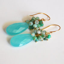 Aqua Chalcedony Pear Briolette and Chrysoprase cluster Dangle Dr