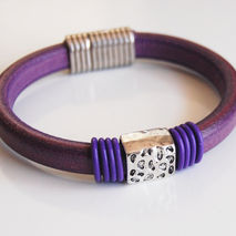 Purple  Licorice Leather And Purple  O ring Bracelet- Bangle bra