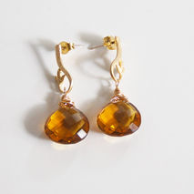 Honey Quartz Heart Briolette Dangle Drop Earrings-
