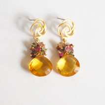 Yellow Quartz  And Multi Tourmaline Cluster Dangle Drop  Earring