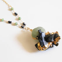 Raw Black Tourmaline With Prehnite Edged in gold Pendant Necklac