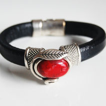 Black  Licorice Leather Bracelet- Bangle bracelet- Red stone  ch