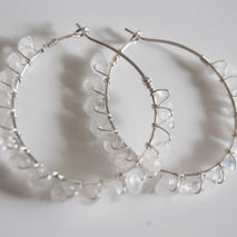 Moonstone Hoop Sterling Silver Earrings - Wedding Jewelry- Brida