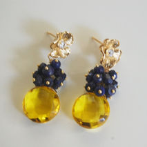 Gemstone Cluster Earrings - AAA  Madeira Quartz Coin Briolette A