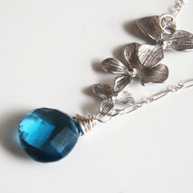 London blue quartz  Necklace with Orchid Charm and Sterling Silv