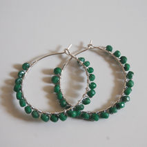 Hoop Earrings -Emerald Hoop Earrings -Genuine Emerald with sterl