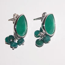 May Birthstone Emerald Earrings- Green glass drop Dangle Post  E