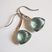 Gorgeous Sage Green Quartz  Dangle Gemstone  Earrings - Mother's